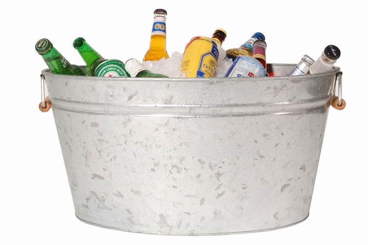 Large galvanized oval bucket, galvanized bucket, galvanized