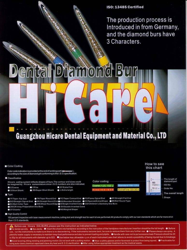 Hicare dental diamond bur, Buy from Guangzhou Hicare Dental