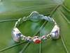 SS Bangle with Iridescent Glass Gem Red Marbles