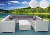 Rattan sofa with end table