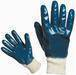 Blue nitrile fully coated working gloves, jersey liner, knit wrist
