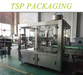 Food or beverage bottle filling, labeling and packaging machine