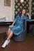 Glamorous gree-blue wrap evening casual cotton dress short sleeve