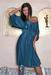 Glamorous gree-blue wrap evening casual cotton dress short sleeve