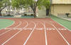 Rubber sports running track and sports ground