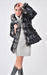 Ladies goose down puffer coat with rabbit fur trims, shining coated