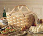 Bamboo torch, wooden basket, wicker basket