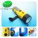 Dynamo solar flashlight with radio mobile charger siren compass
