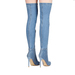 2017 knee fish mouth high heel woman denim long boots woman shoes