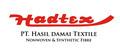 Pt Hasil Damai Textile: Regular Seller, Supplier of: nonwoven polyester spunbond, regenerated polyester staple fiber, polyester bottle flakes. Buyer, Regular Buyer of: pressed polyester bottle, yarn polyester waste, resin pet chip.
