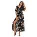 Ladies high slit floral print long dress