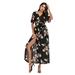 Ladies high slit floral print long dress