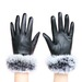 Iphone leather gloves with rabbit fur cuff