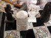 Mother of pearl box, backgammon, bone chess, egyptian pen, abanos stick