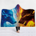 3d wolf printing fleece double throw hooded blanket
