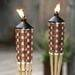 Bamboo torch, wooden basket, wicker basket