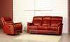 Leather, recliner sofa
